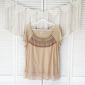 ANTHRO LILKA Tan Tulle Boho Lace Embroidered Top